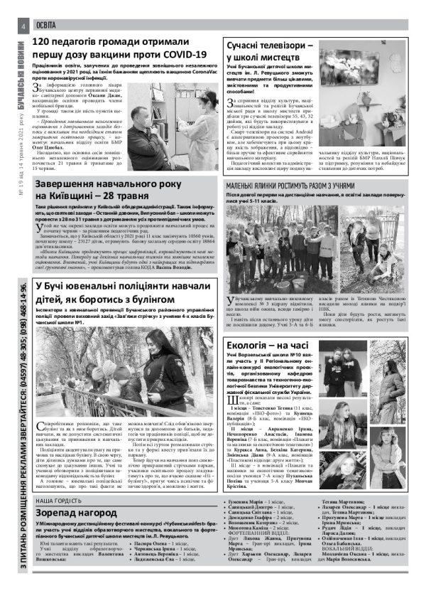 Газета Бучанські новини випуск 19 2021, стор.4