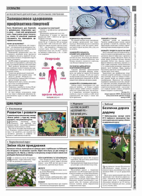 Газета Бучанські новини випуск 21 2021, стор.11