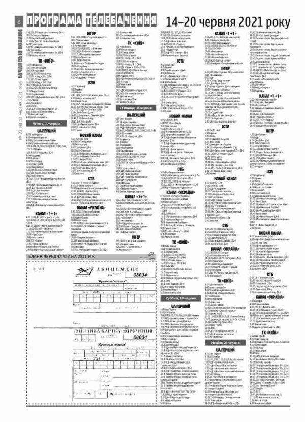Газета Бучанські новини випуск 23 2021, стор.8