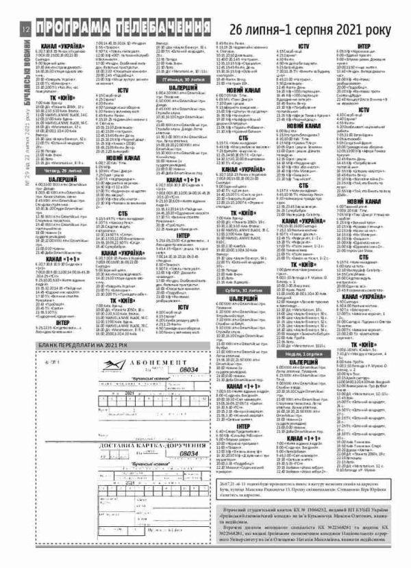 Газета Бучанські новини випуск 29 2021, стор.12